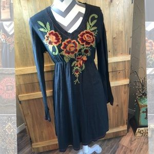 DOUBLE D RANCH Embroidered Knit Ling Sleeve Dress